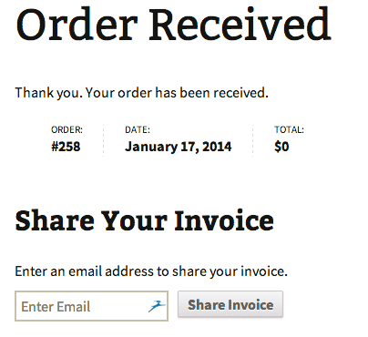 Easily add an ajax enabled invoice sharing input box.