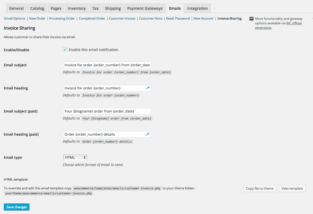 Use the default WooCommerce Email templates for your invoice sharing.