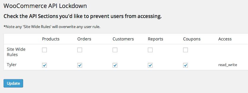api lockdown admin screen