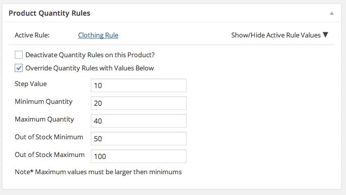 manual override quantity rules.